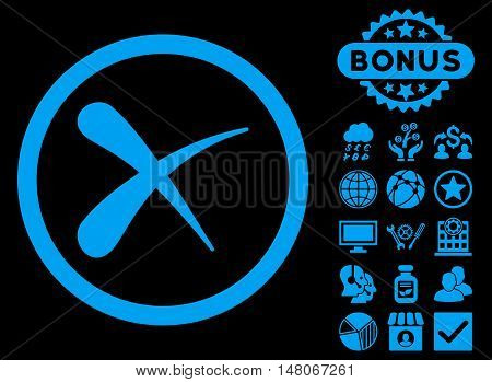 Erase icon with bonus pictures. Vector illustration style is flat iconic symbols, blue color, black background.