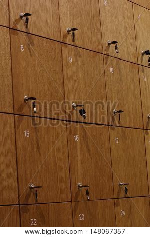 Depository wooden lockers architecture interior clouse up.