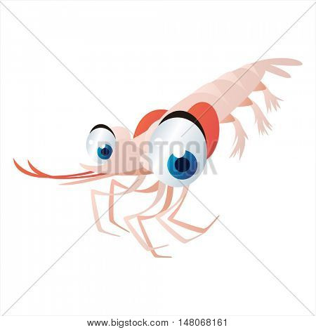 vector funny image of cute bright color underwater sealife animal. Shrimp