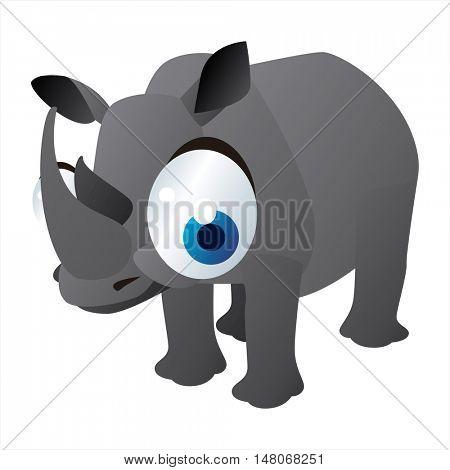 vector funny image of cute bright color animal. Rhinoceros