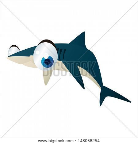 vector funny image of cute bright color underwater sealife animal. Shark