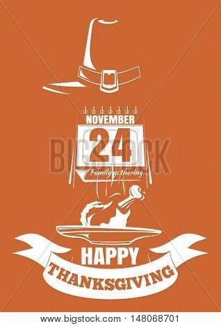 Thanksgiving design. Roast turkey holiday date in the calendar (November 24th) and greeting inscription - Happy Thanksgiving. Vector illustration