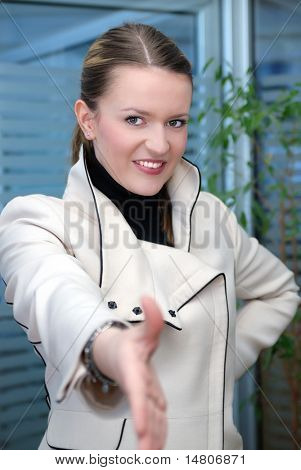 .Businesswoman Ready to Shake Hands