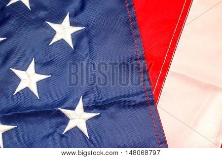 United States flag elements close up view