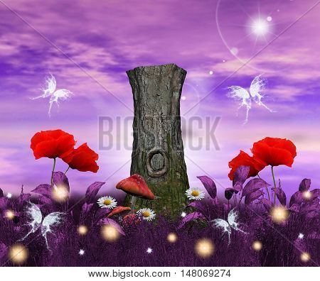 Fantasy background with tree trunk and poppies