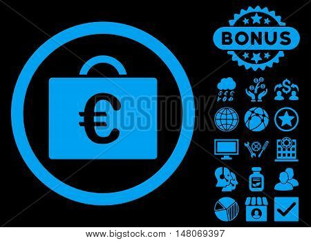 Euro Bookkeeping Case icon with bonus pictogram. Vector illustration style is flat iconic symbols, blue color, black background.