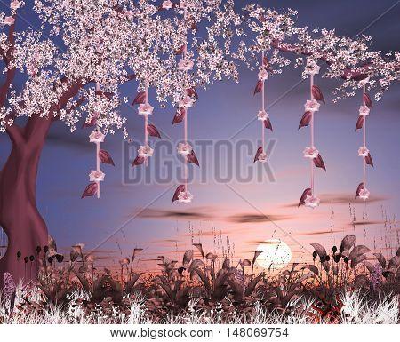 Enchanted pink tree in a fantasy garden