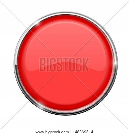 Red button with chrome frame. Vector illustration isolated on white background