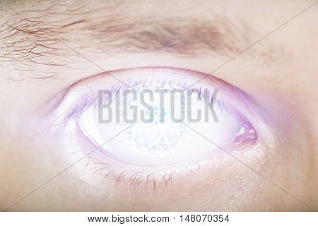 Closeup of digital male eye with security scanning concept