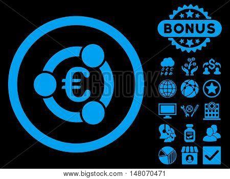 Euro Collaboration icon with bonus elements. Vector illustration style is flat iconic symbols, blue color, black background.