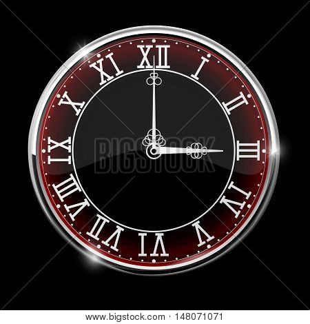 Roman numeral clock. Vector illustration isolated on black background