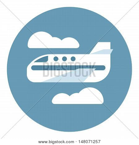 Digital vector aeroplane in blue circle with clouds sign, flat style