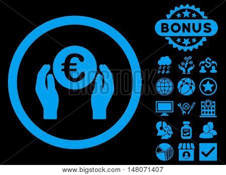 Euro Insurance Hands icon with bonus pictures. Vector illustration style is flat iconic symbols blue color black background.