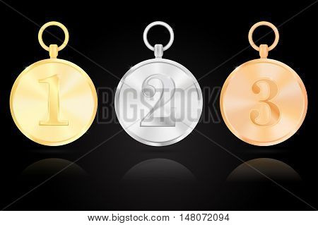 Award medals - first second third place. Gold silver bronze. Vector illustration on black background