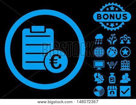 Euro Prices icon with bonus pictures. Vector illustration style is flat iconic symbols, blue color, black background.
