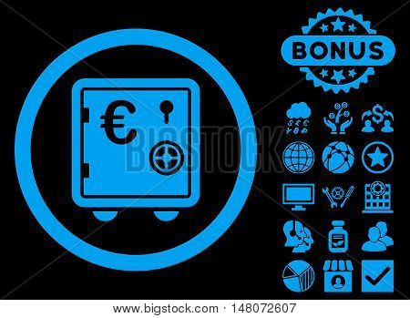 Euro Safe icon with bonus pictures. Vector illustration style is flat iconic symbols, blue color, black background.