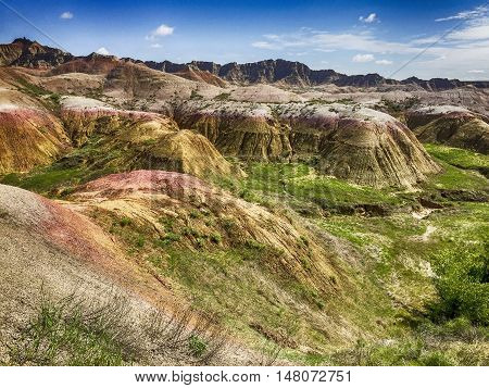 A view of the unique stone formations created be erosion over millions of years in the Badlands National Park in South Dakota.