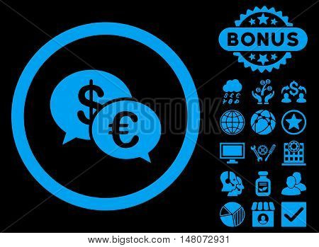 Euro Transactions icon with bonus design elements. Vector illustration style is flat iconic symbols, blue color, black background.
