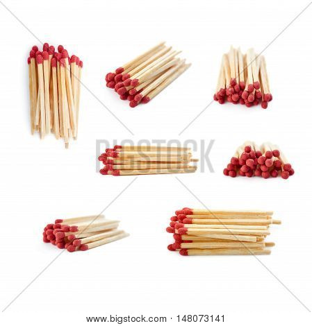 Set of Pile of Wooden unused matches isolated over the white background