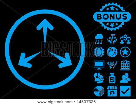 Expand Arrows icon with bonus elements. Vector illustration style is flat iconic symbols, blue color, black background.