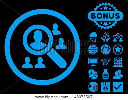 Explore Patients icon with bonus pictogram. Vector illustration style is flat iconic symbols, blue color, black background.
