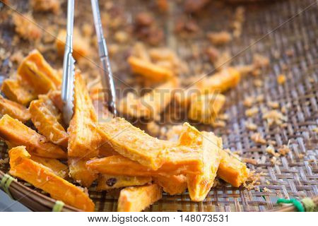 Fried yam Thai Snack or Thailand food is delicious to eat at your leisure