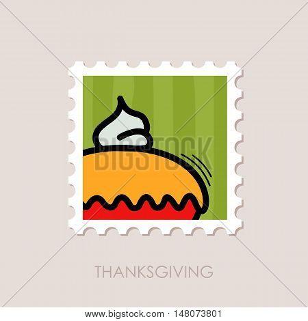 Thanksgiving Pie stamp. Harvest. Vector illustration eps 10
