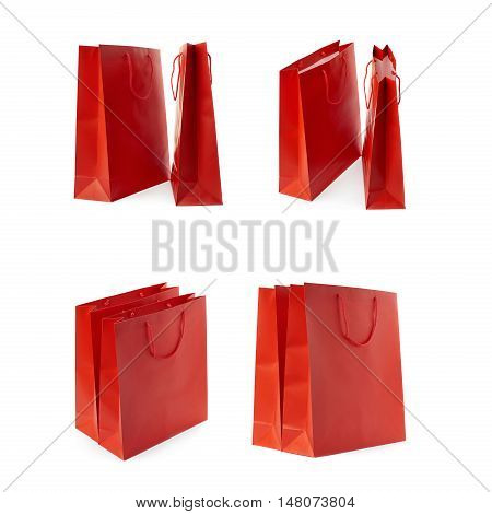 Set of Pair of Red Shopping bag isolated over the white background