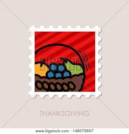Fruit Basket stamp Harvest. Thanksgiving vector illustration eps 10