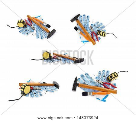 Set of Pile of working tools as construction composition over isolated white background