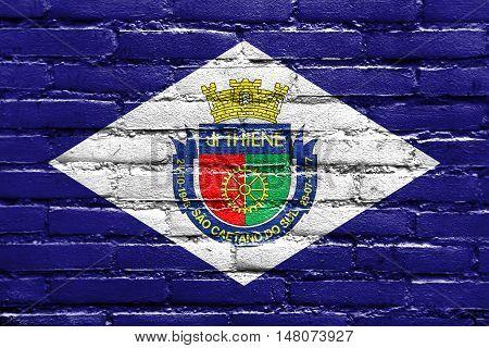 Flag Of Sao Caetano, Sao Paulo, Brazil, Painted On Brick Wall
