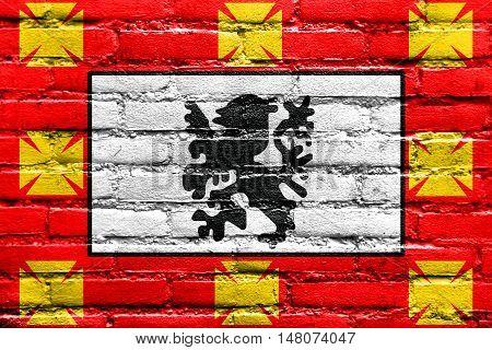 Flag Of Sao Vicente, Sao Paulo, Brazil, Painted On Brick Wall