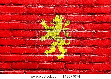 Flag Of Saragossa (zaragoza), Spain, Painted On Brick Wall