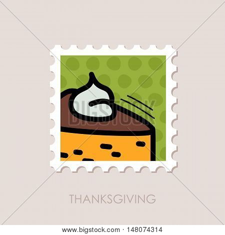 Piece of pumpkin pie served with whipped cream on the top stamp. Harvest. Thanksgiving vector illustration eps 10
