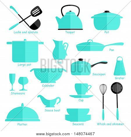 Set of blue cookware isolated on white background. Kitchen utensils. Flat.