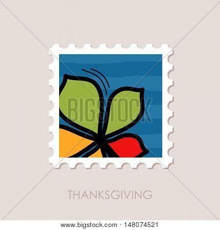 Autumn Leaves chestnut stamp. Harvest. Thanksgiving vector eps 10
