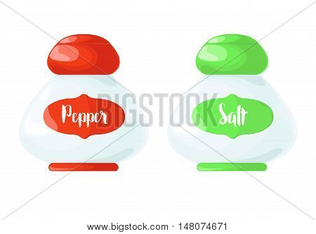 Icon pepper and salt shakers isolated on white background. Vector illustration in cartoon style.