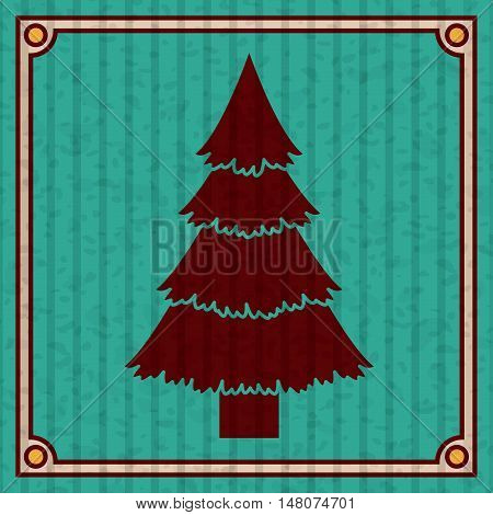 Pine tree icon. Merry Christmas season and decoration theme. Colorful design. Striped frame and grunge background. Vector illustration