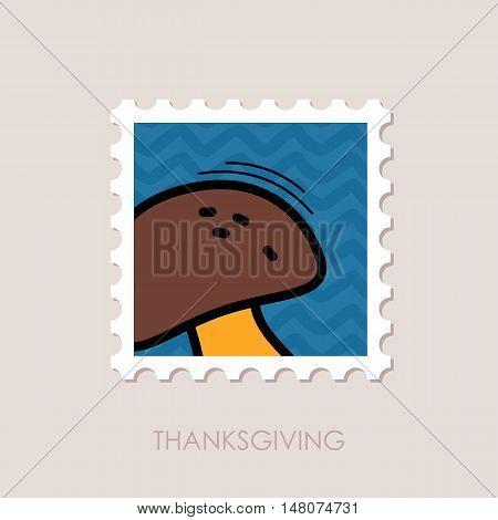 Mushroom stamp. Harvest. Thanksgiving vector illustration eps 10