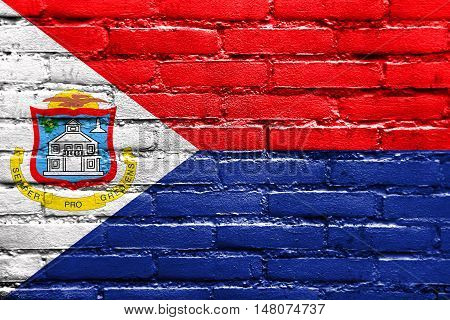 Flag Of Sint Maarten, Painted On Brick Wall