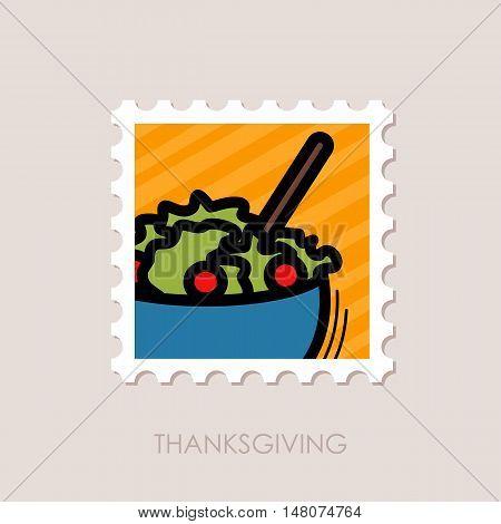 Salad bowl stamp. Harvest. Thanksgiving vector illustration eps 10