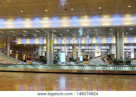 BEN GURION ISRAEL - SEPTEMBER 02 2016: Conveyor belt in the baggage hall at Ben Gurion Airport