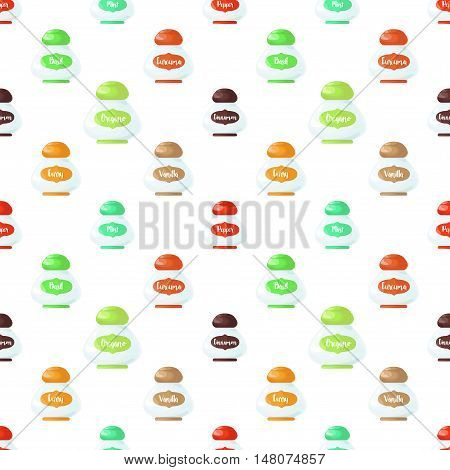 Seamless pattern. Set bottles with spices. Set of labels for spices.