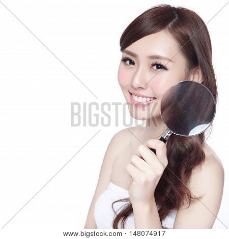 Beauty woman with charming smile and take magnifying teeth and hair isolated on white background asian beauty
