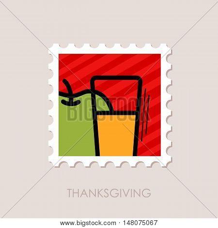 Glass of fresh apple juice stamp. Harvest. Thanksgiving vector illustration eps 10