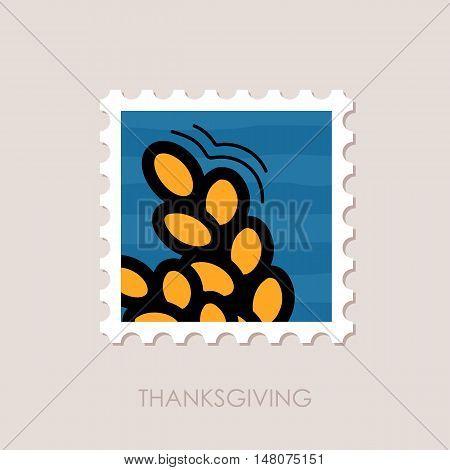 Spikelets of wheat stamp. Harvest. Thanksgiving vector illustration eps 10