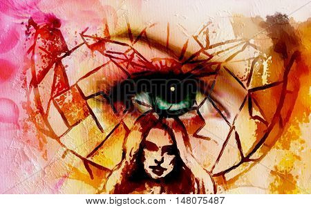 abstract woman head with eye above her on abstract mosaic background