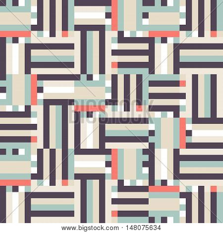 Geometric colorful op art pattern. Vector stripes in vintage colors. Geometric background with squares and stripes. Striped bold print for fall winter fashion. Textile design with geometric shapes