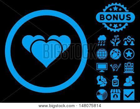 Heart Favourites icon with bonus elements. Vector illustration style is flat iconic symbols blue color black background.