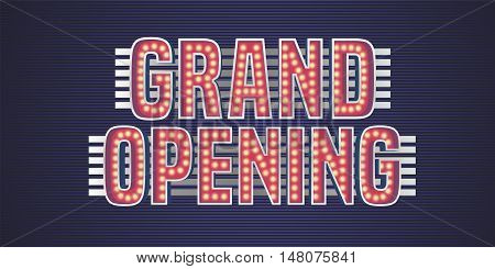 Grand opening vector banner poster illustration flyer invitation. Nonstandard design element with retro vintage 60s lettering for opening ceremony